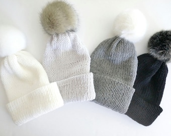 Bobble hat in white, silver gray, gray and black merino wool with faux fur bobble, choose your colour, beanie hat