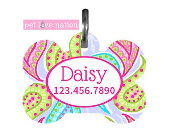 Personalized Pet Tag, Dog Tag, ID Tag, Preppy Paisley Pet Tag With Name And Phone Number
