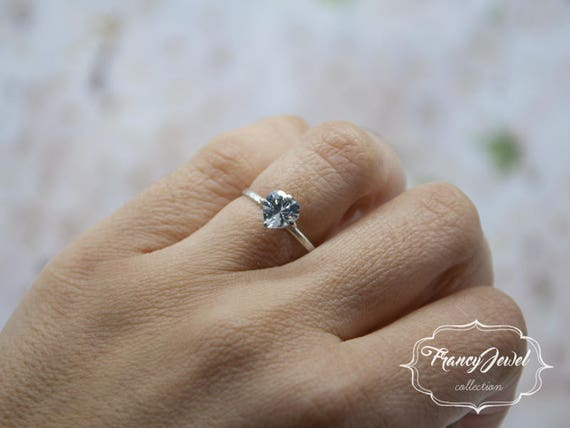 Engagement's gift, solitaire ring, sterling silver ring, heart shaped cubic zirconia, handmade ring, made in Italy, gift for her, wedding