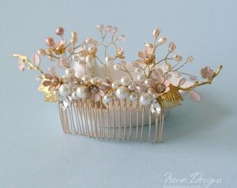 wedding gold pale pink wedding comb, bridal headpiece wedding head piece