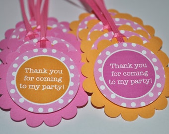 Birthday Party Favor Tags - Party Favors - Thank You Tags - Birthday Decorations - Orange, Pink and White Polkadots - Set of 12