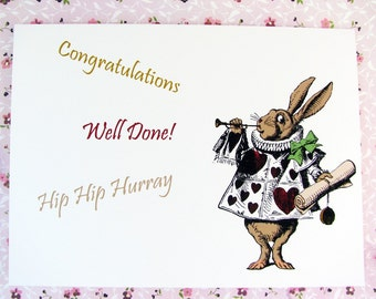 Alice in Wonderland March Hare Congratulations Graduation Card