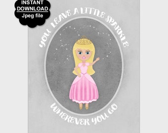 Princess Printable Sparkle Quote, Girl's Nursery Print, Princess Wall Decor, Pink Gray Nursery Wall Art, 8x10 11x14 Instant Download