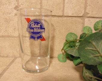 Glass Pabst Blue Ribbon Beer Glass , 7 oz Glass PBR Beer Drinking Glass   (T)