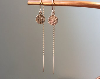 Handmade Rose Gold Threader Earrings with Hammered Dangle