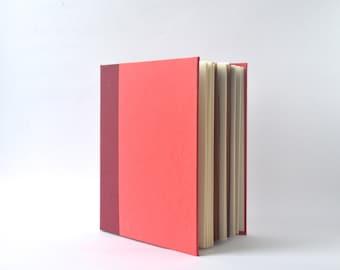 Two Tone Red Handbound Journal, Burgundy & Red Starburst Album, Textured Hardcover Sketchbook