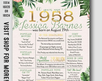 60th birthday decorations for her - 60th birthday for her - Tropical floral theme - in the year poster 1958 - 60 years ago - you print