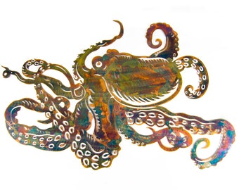 Metal Octopus with multi color patina