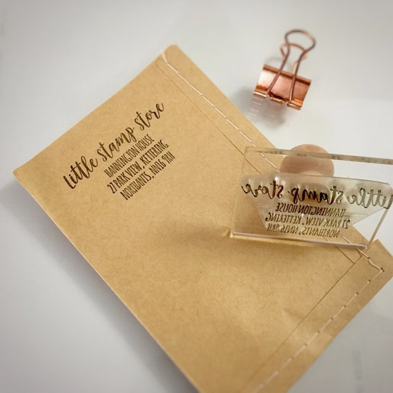 Address Stamp - Return Address - Custom Order rubber Stamp - ANY SIZE - Custom Stamps - Logo Design - Gift For Him - Gift For Her - Clear St