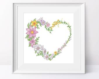 Floral heart cross stitch pattern Love wreath Cross stitch pdf pattern Heart xstitch pdf Floral cross stitch Counted cross stitch design