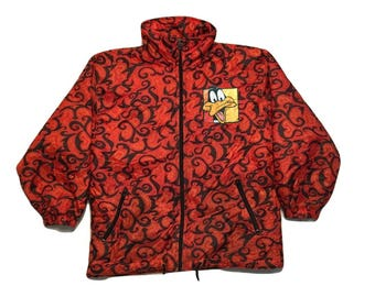 Daffy Duck Looney tunes Jacket Windbreaker coat Vintage red - Sz Women XS
