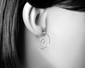 Silver Spiral Earrings, Spiral Hoops, Sterling Silver Earrings, Minimal Spirals, Silver Wire Spirals, Handmade Spirals, Swirl Hoop Earrings