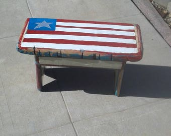 American Flag Stool