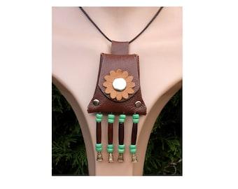 Brown leather neck purse, medicine bag, tassel neck pouch, keepsake pouch, bone hair pipes, green choker, hippie necklace, boho choker