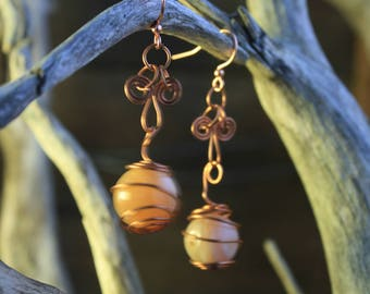 Copper and Agate Earrings