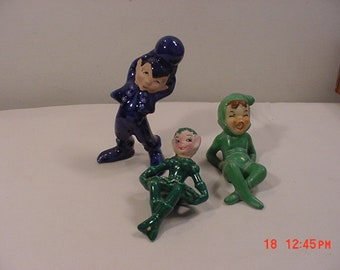 3 Vintage Elf Or Pixie Ceramic Figurines One Is A Shelf Sitter  18 - 1051