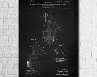 Diesel Engine Patent Poster, Diesel Engine Print, Diesel Mechanic Gift, Garage Decor, Car Part Art Car Engine Art Diesel Blueprint, Dad Gift