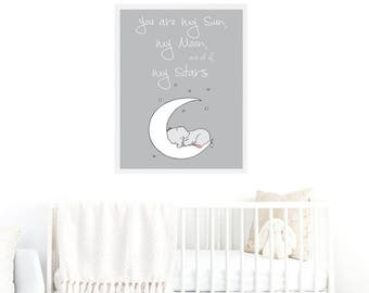 Elephant Printable Nursery Art,Elephant Nursery Decor,Elephant Baby Art,Moon Stars Nursery Art,Elephant Boys Nursery,Elephant Girls Nursery,