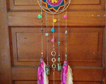Boho mandala crochet windchime/dreamcatcher