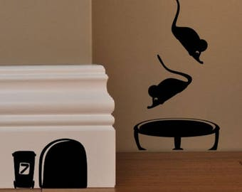 MOUSE TRAMPOLINE Mice Love Heart decor funny wall art decal stickers Baseboard Kids