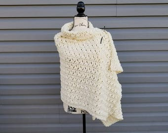 Crochet Winter Wishes Wrap PATTERN ONLY women's winter wear prayer shawl clothing wearable gift for her teen adult