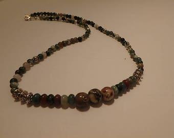 necklace jasper & carved stones