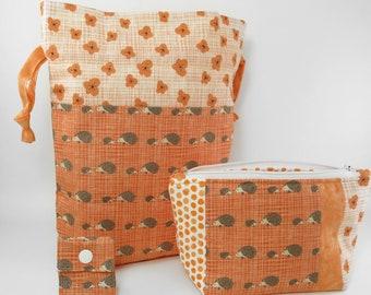 "Knitting Project Bag - New ""Hedgehog"" 2 Piece Set Knitting Project Bag (J.5)"
