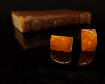 Orange crash resin cufflinks type2