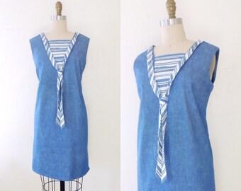 Vintage 1960s sailor shift dress | 60s mod shift dress | 60s mod dress | 60s shift dress | nautical sailor dress | chambray dress | M L