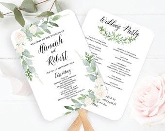 Wedding Program Fan Template, Greenery Wedding Program Fan Printable, Botanical Wedding Program, Succulent Wedding Program
