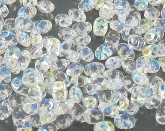 10 gr SUPERDUO 2, 5x5mm - Crystal AB - Super Duo Beads SD15
