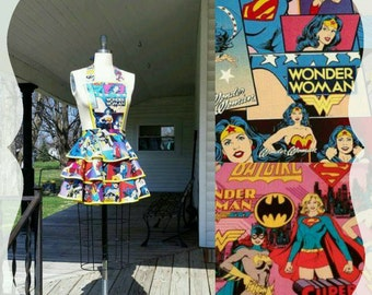 Wonder Woman Apron with Batgirl & Supergirl  Women's Apron  XS S M L XL 2XL 3XL 4XL 5XL