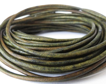 10m leather cord in distressed moss green, 2mm leather cording for jewellery making, supplies for wrap bracelet making