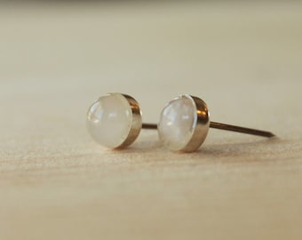 Rose Quartz Gemstone Titanium Stud Earrings / 6mm Cabochon Bezel Set / Hypoallergenic Earrings Studs