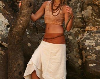 Long Wrap Skirt Terracotta Orange Natural Cotton