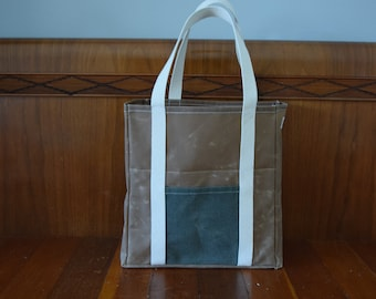 Waxed Canvas Market Bag / Grocery Bag / Tote Bag / Reusable
