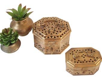 2 Boho Pierced Brass Cricket Boxes Indian Brass Bohemian Trinket Keepsake Box Octagonal Brass Jewelry Box Hinged Box Incense Potpourri Box