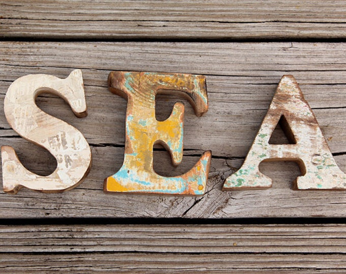 Beach Decor, SEA Sign, Wooden, Vintage, Nautical, by Seastyle