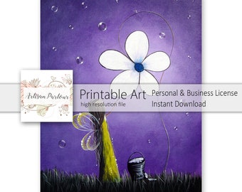 Art To Print - Daisy Fairy - Fae - Faery - Fairie - Art Print - Wall Art - Bedroom Art - Girl's Room Decor Ideas - Whimsical - Purple Color