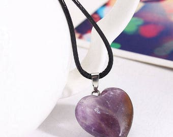 Healing Point Chakra Heart Stone with Leather Necklace