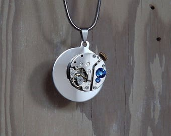 Steampunk Necklace / Pendant. Round, Stainless Steel with Vintage Watch Mechanism and Sapphire Swarovski Crystals