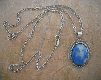 Vintage Turquoise Sterling Necklace - includes chain!
