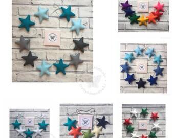 Star garland, felt star garland, star bunting, star wall hanging, wedding garland, nursery decor, nursery wall hanging