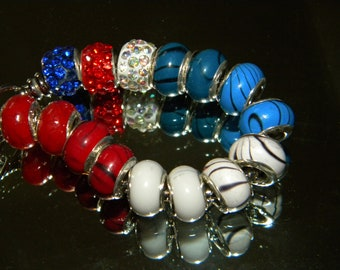 NEW 15/pc Red/White/Blue American 10-12mm Spacer beads European large hole bead lot (RWB)