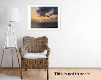 Framed Sunset Beach Photography Ocean Beach Sunset Bird in Sunset Caribbean Bahamas Coast Home Decor Gift for Her