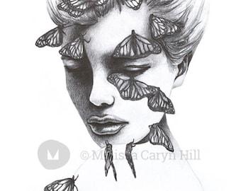 Celeste: A3 Giclee Art Print of original pencil drawing