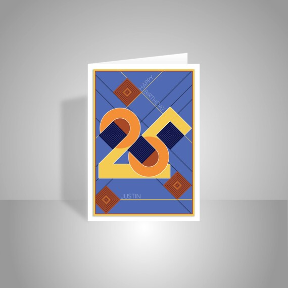 Personalised 25th happy birthday card for him man edit name like this item bookmarktalkfo Images