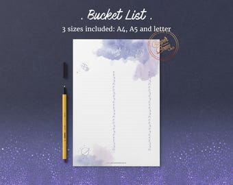 Galaxy Themed Bucket List, Printable Bucket List, Galaxy Bucket List, To Do List, Planner Insert, Bullet Journal