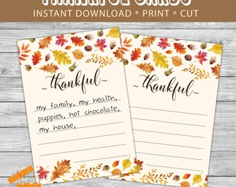 Printable thankful cards, Thanksgiving thankful cards, Thanksgiving activity for all adults kids and all ages