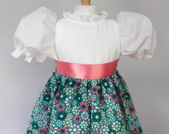 """Doll Dress for 18"""" doll, pink & teal print with ribbon tie"""